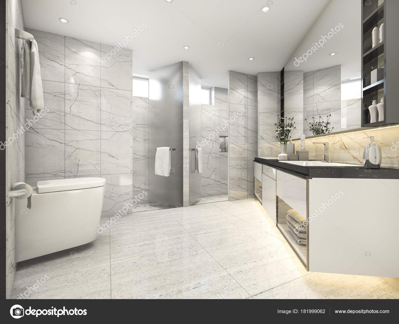 Stanza bagno vintage moderno rendering crema con decorazioni