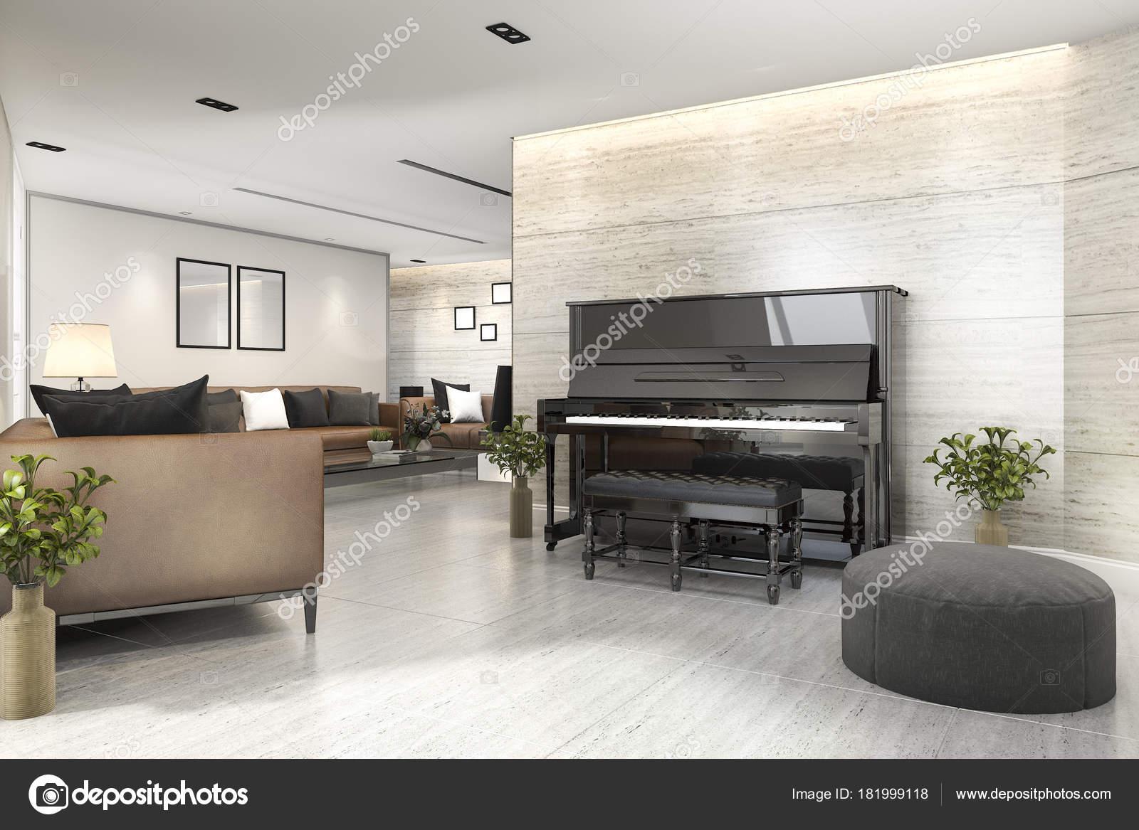 Delicieux 3D Rendering Modernes Wohnzimmer Mit Klavier Und Sesselu2013 Stockbild