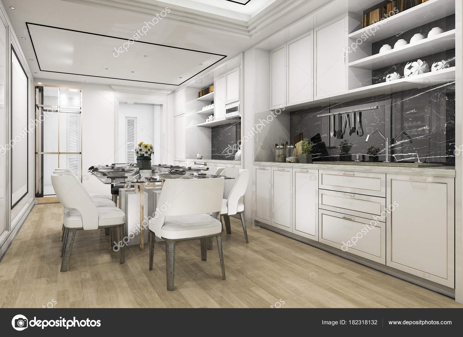 Bela Cozinha Branca Moderna Renderiza O Sala Jantar Fotografias