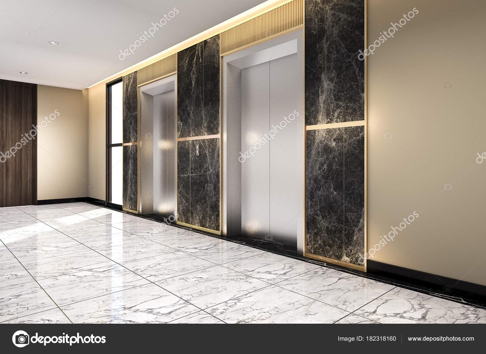 Rendering moderne stalen liftkooi lobby zakenhotel met luxe design
