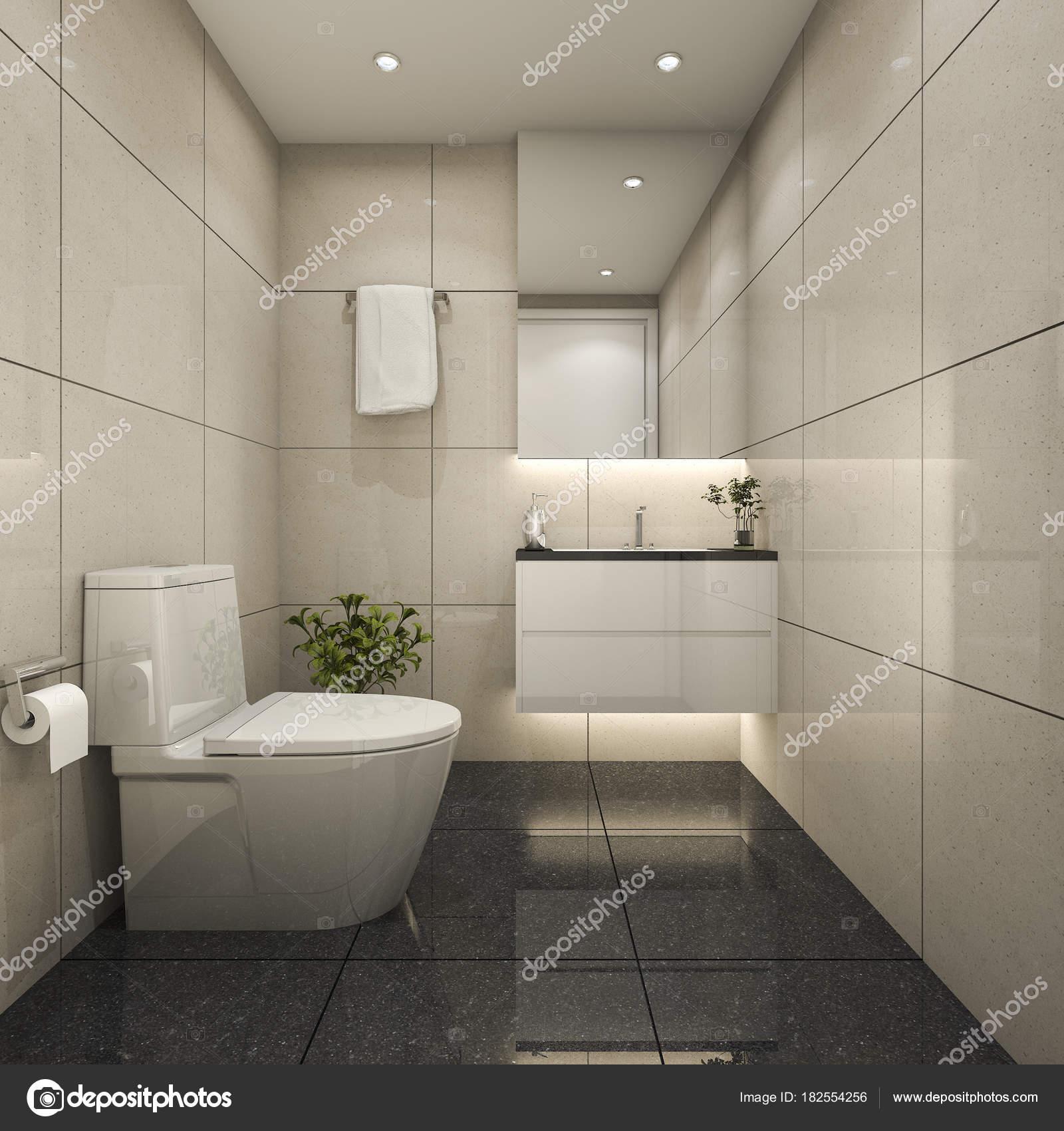 Rendu Toilettes Minime Modernes Salle Eau — Photographie ...
