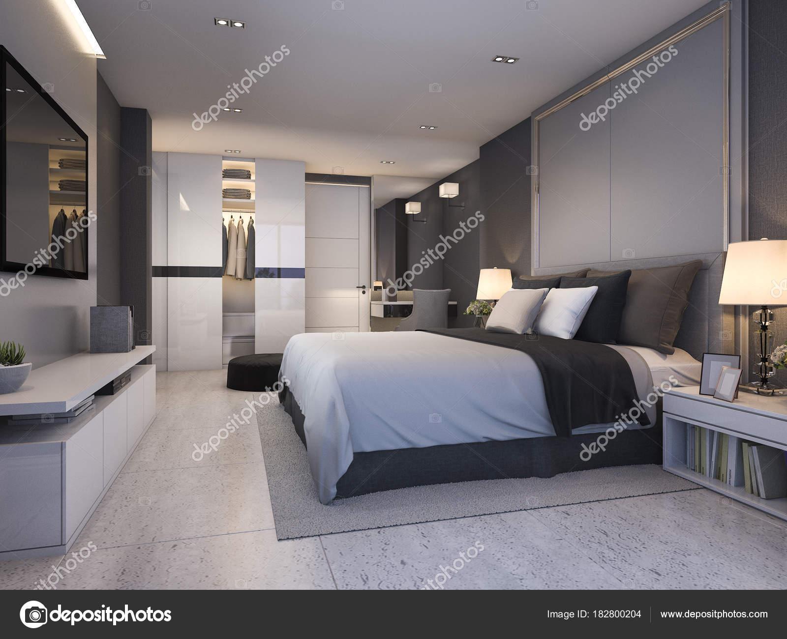 Suite Chambre Luxe Moderne Rendu Nuit Design Confortableu2013 Images De Stock  Libres De Droits