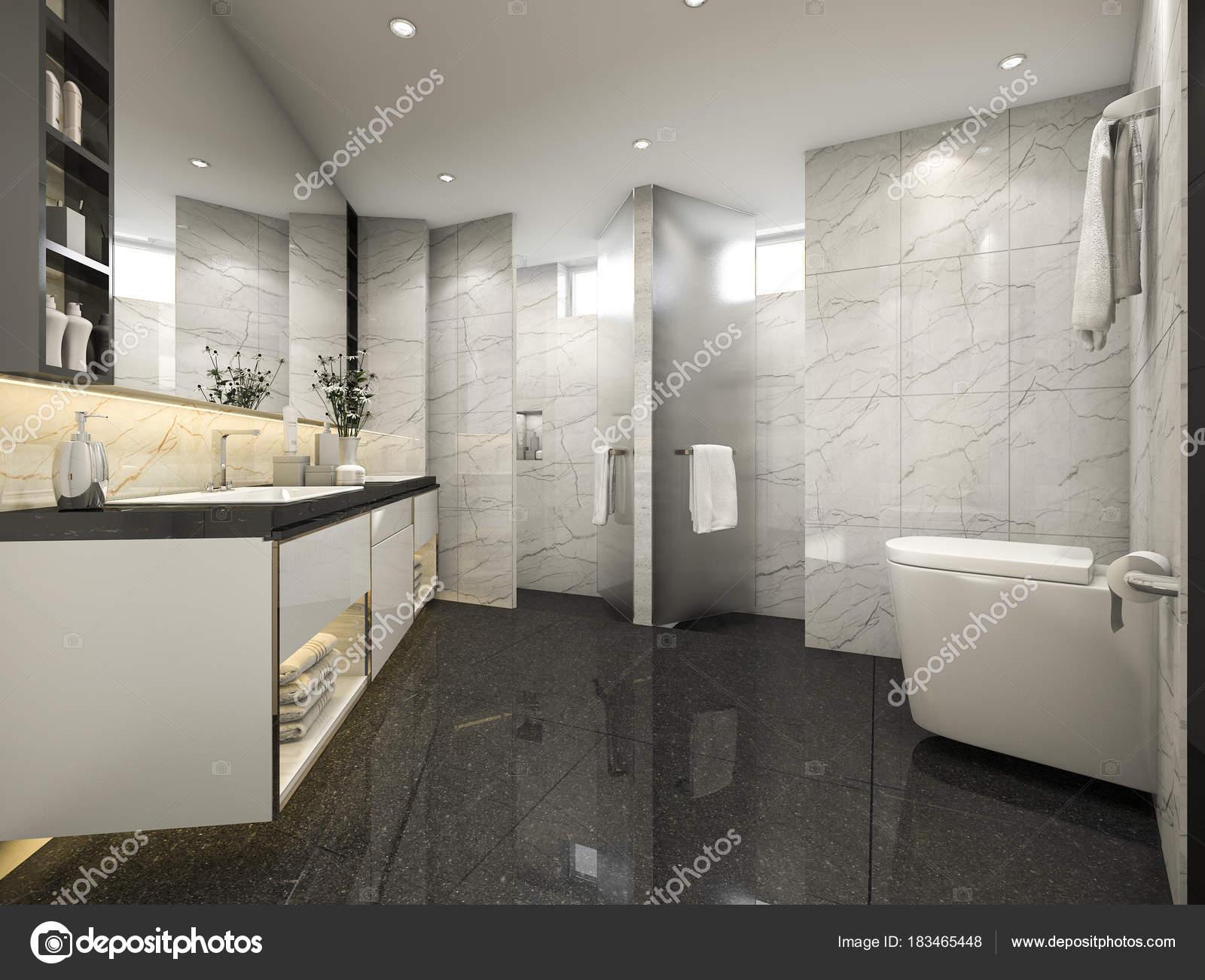 Rendu Loft Moderne Salle Bain Avec Luxe Carrelage Décoration ...