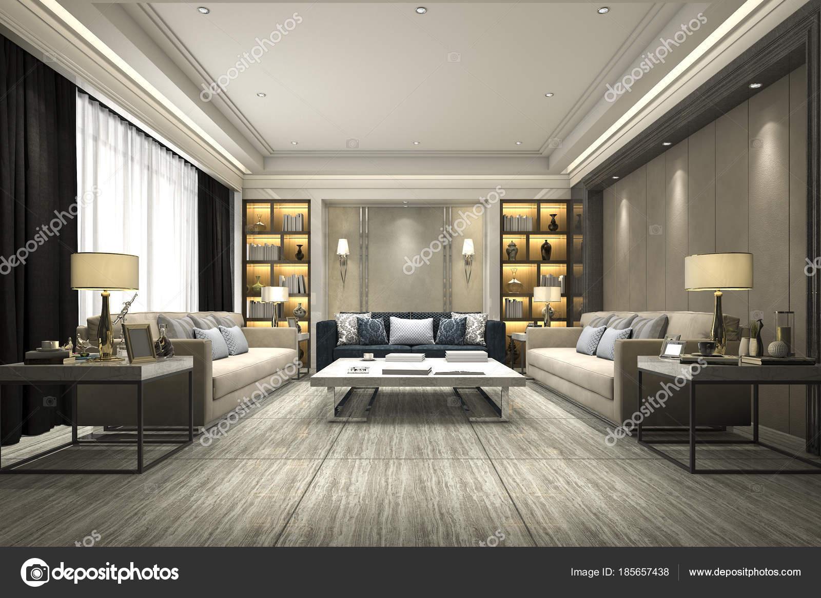 Strange Rendering Luxury Modern Living Room Bookshelf Stock Photo Interior Design Ideas Tzicisoteloinfo