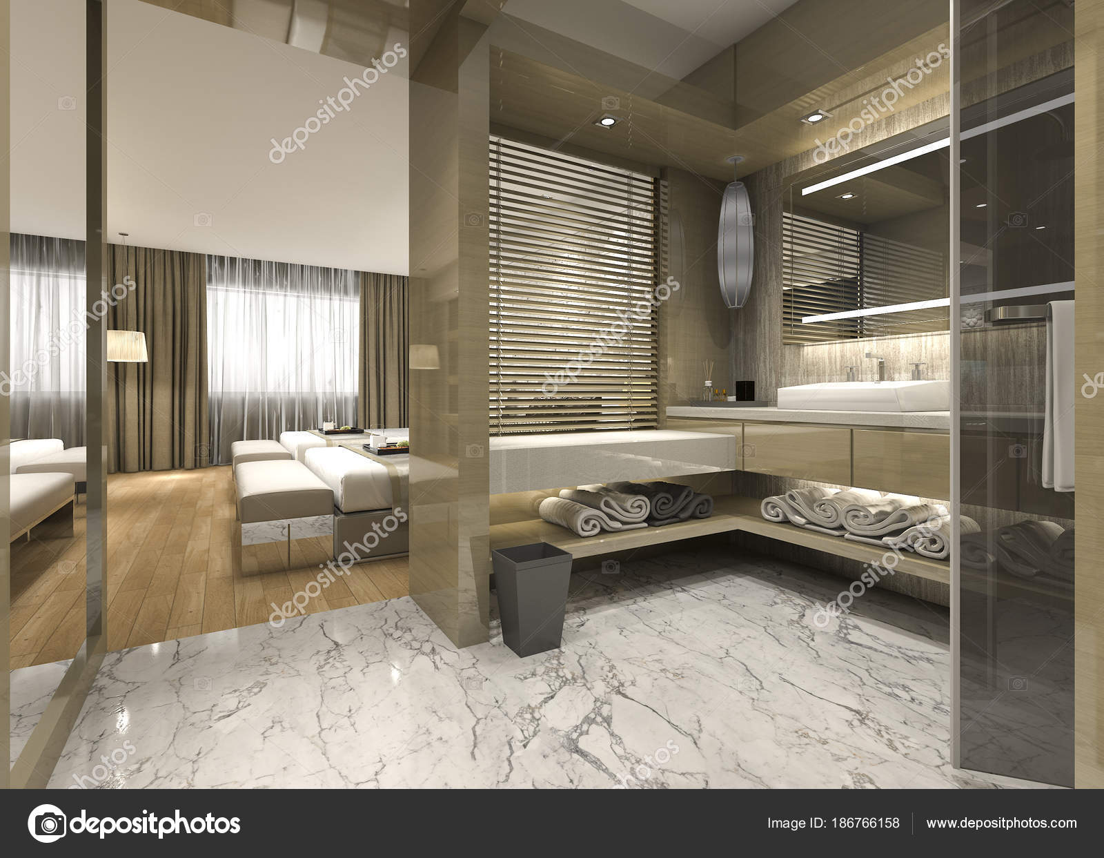 Salle De Bain Luxueuse Moderne ~ rendu moderne bois salle bain luxueuse suite hotel photographie