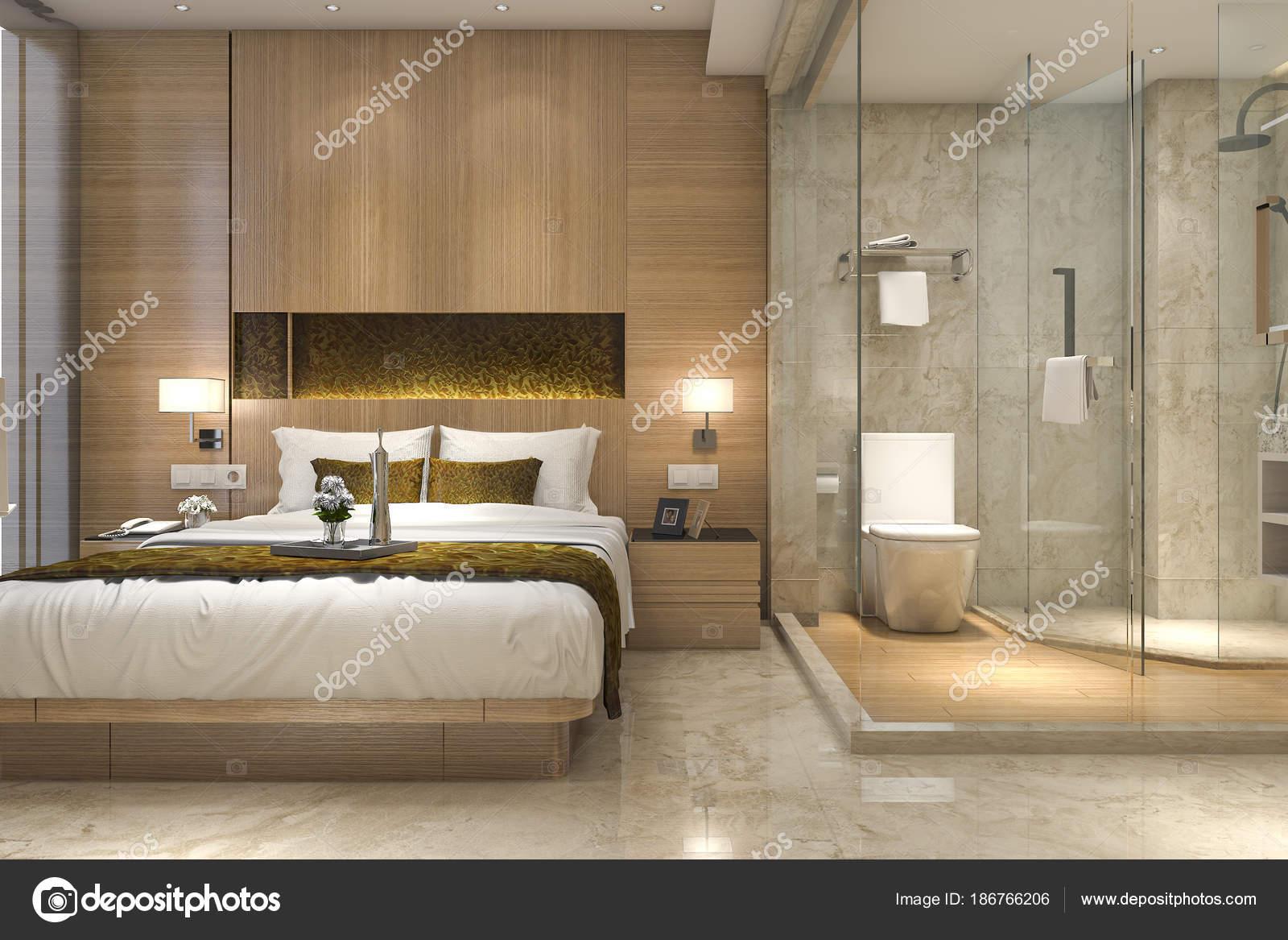 Salle Bain Suite Chambre Coucher Luxe Moderne Rendu — Photographie ...