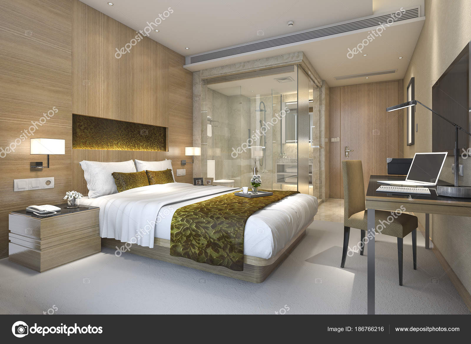 salle bain suite chambre coucher luxe moderne rendu photo