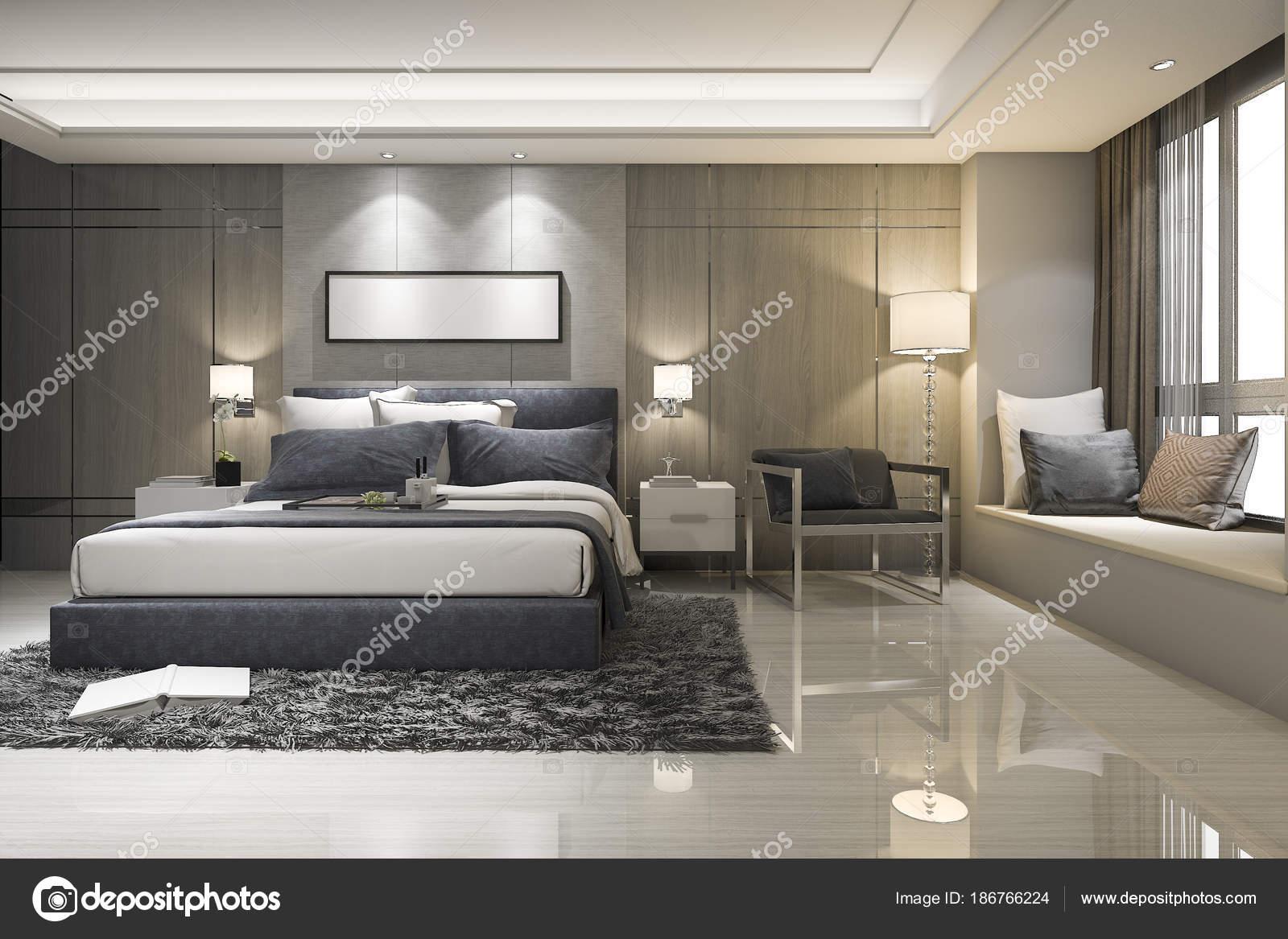 Cuarto Baño Suite Dormitorio Lujo Moderno Representación