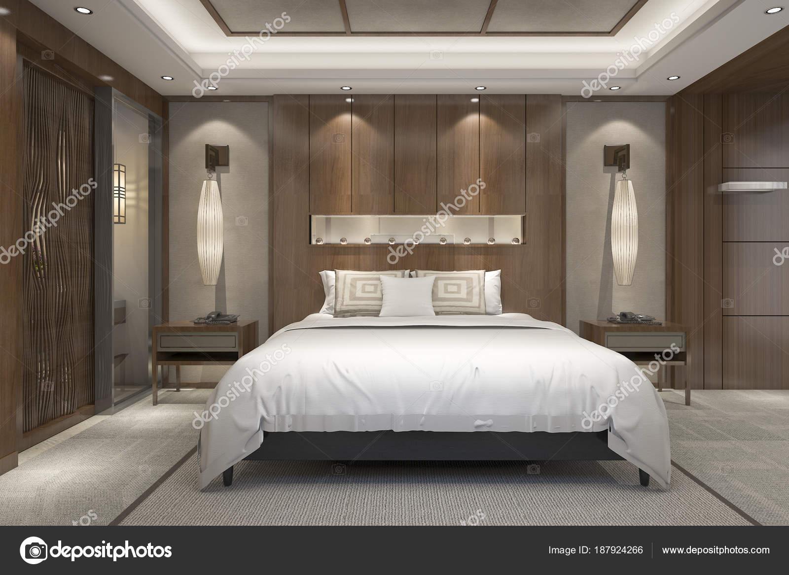 Suite Camera Letto Lusso Moderno Rendering Resort Con Bagno — Foto ...