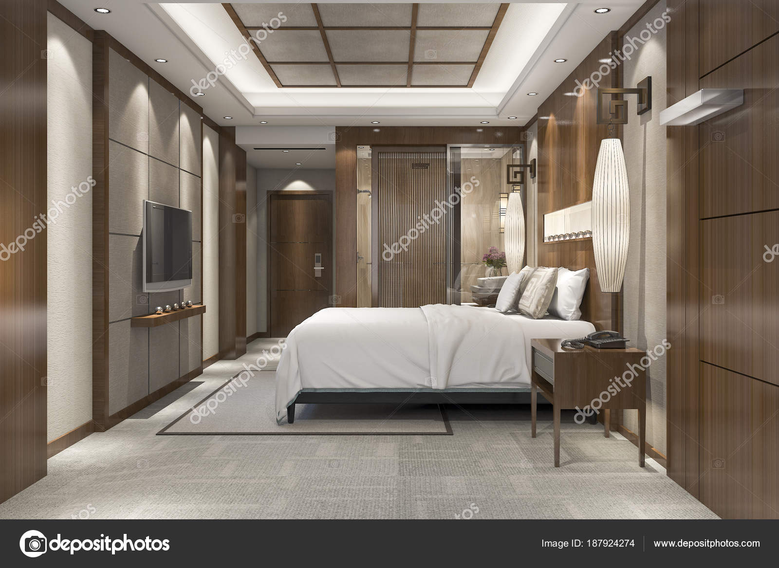 Suite Chambre Luxe Moderne Rendu Dans Station Avec Salle Bain ...