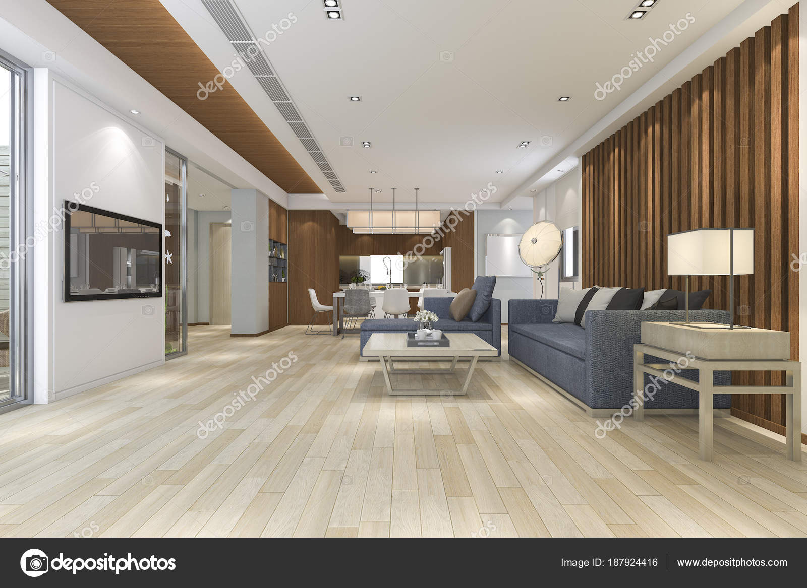 Rendering Luxus Und Moderne Wohnzimmer Der Nähe Von Küche ...