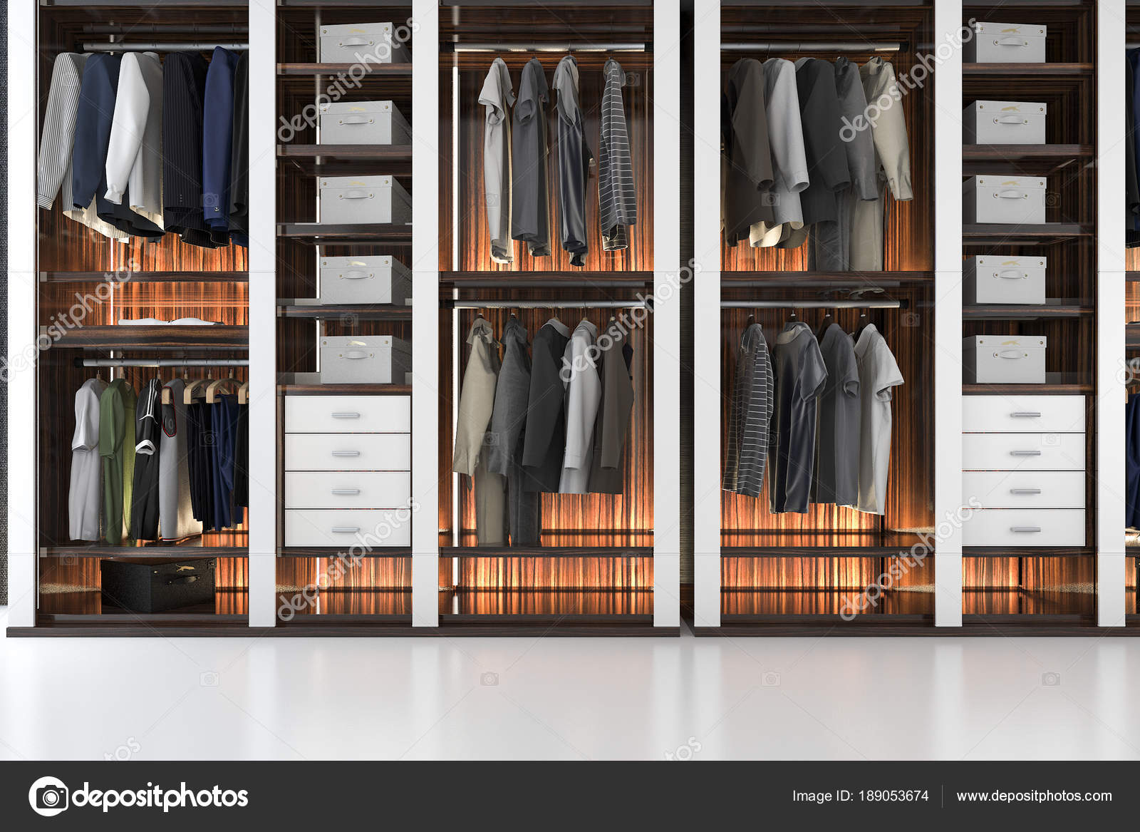 3d Rendering Modern Scandinavian White Wood Walk In Closet With Wardrobe Photo By Dit26978