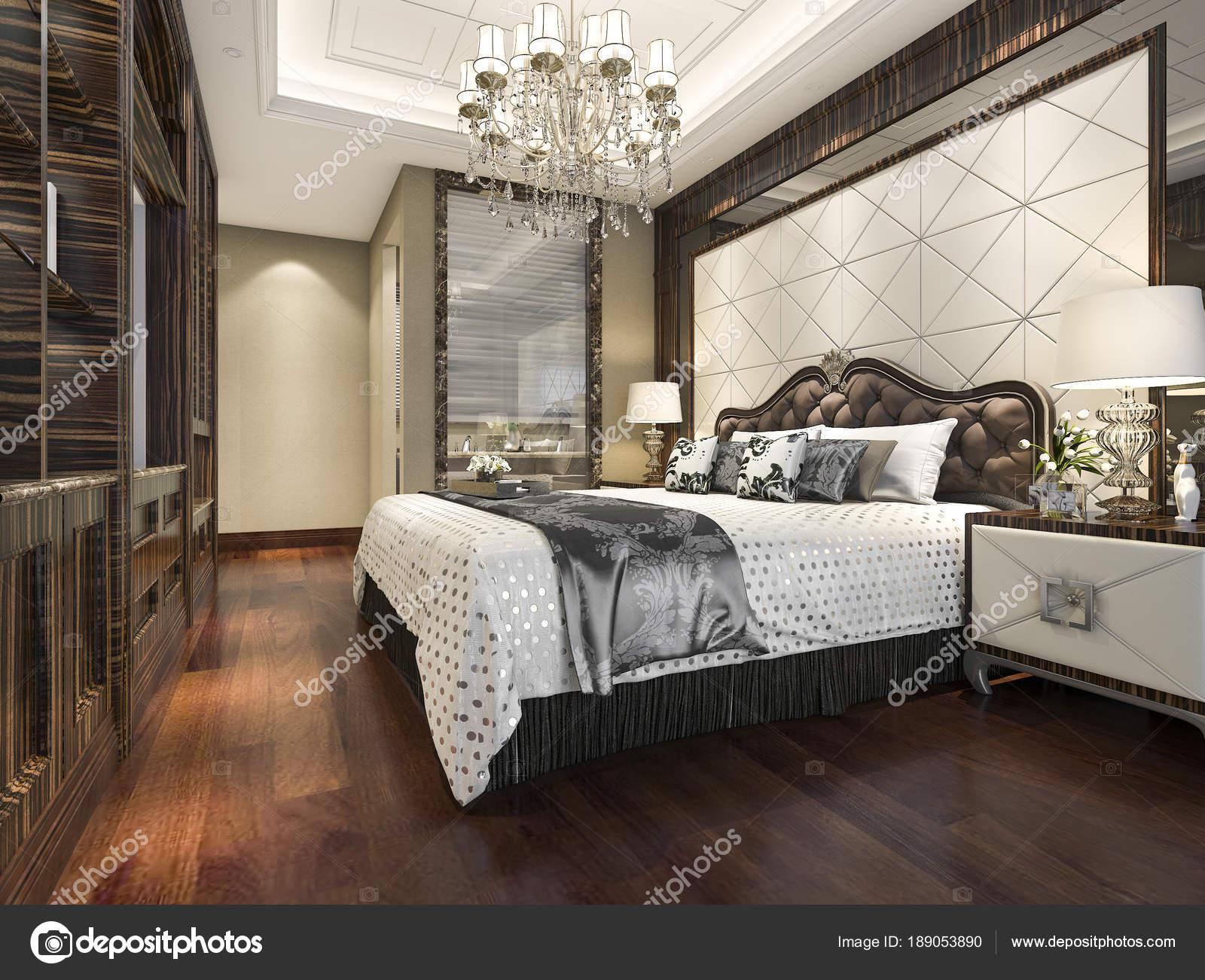Slaapkamer En Suite : Rendering hout klassieke slaapkamer suite met boekenplank badkamer