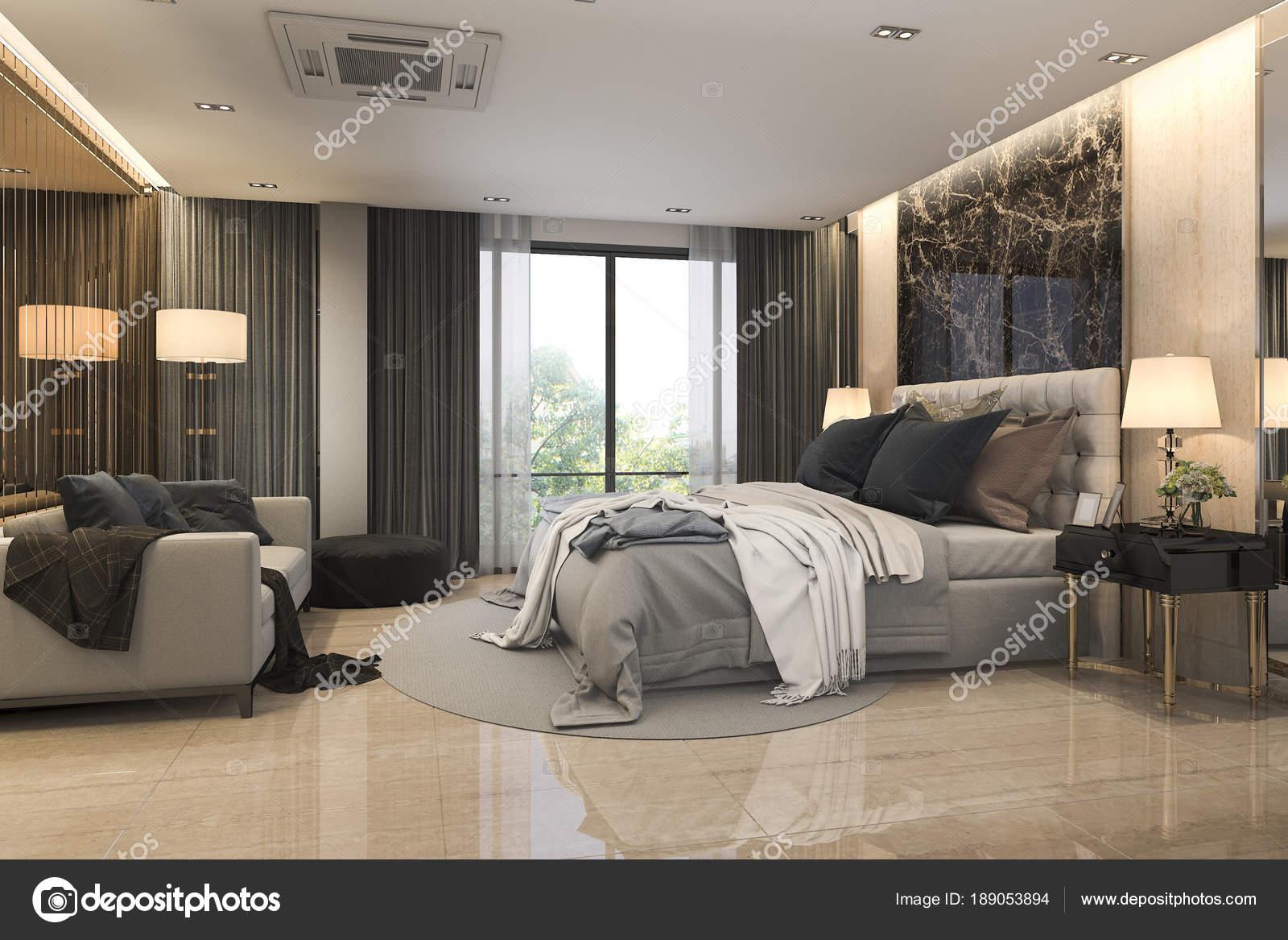 Rendering moderno loft lusso camera letto suite con divano vicino