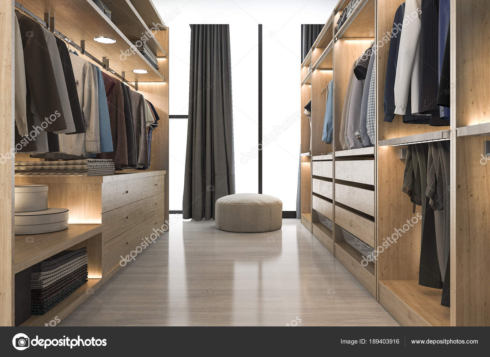 Cabine Armadio Con Finestra : Legno bianco scandinavo moderno rendering cabina armadio con