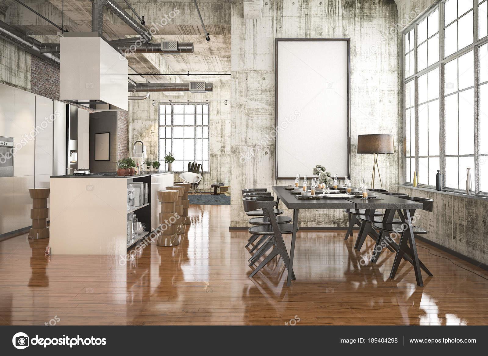 Cucina Stile Industriale Rendering Con Sala Pranzo Zona Legno Nero ...