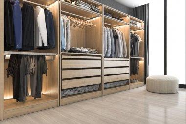 3d rendering modern scandinavian white wood walk in closet with wardrobe near window