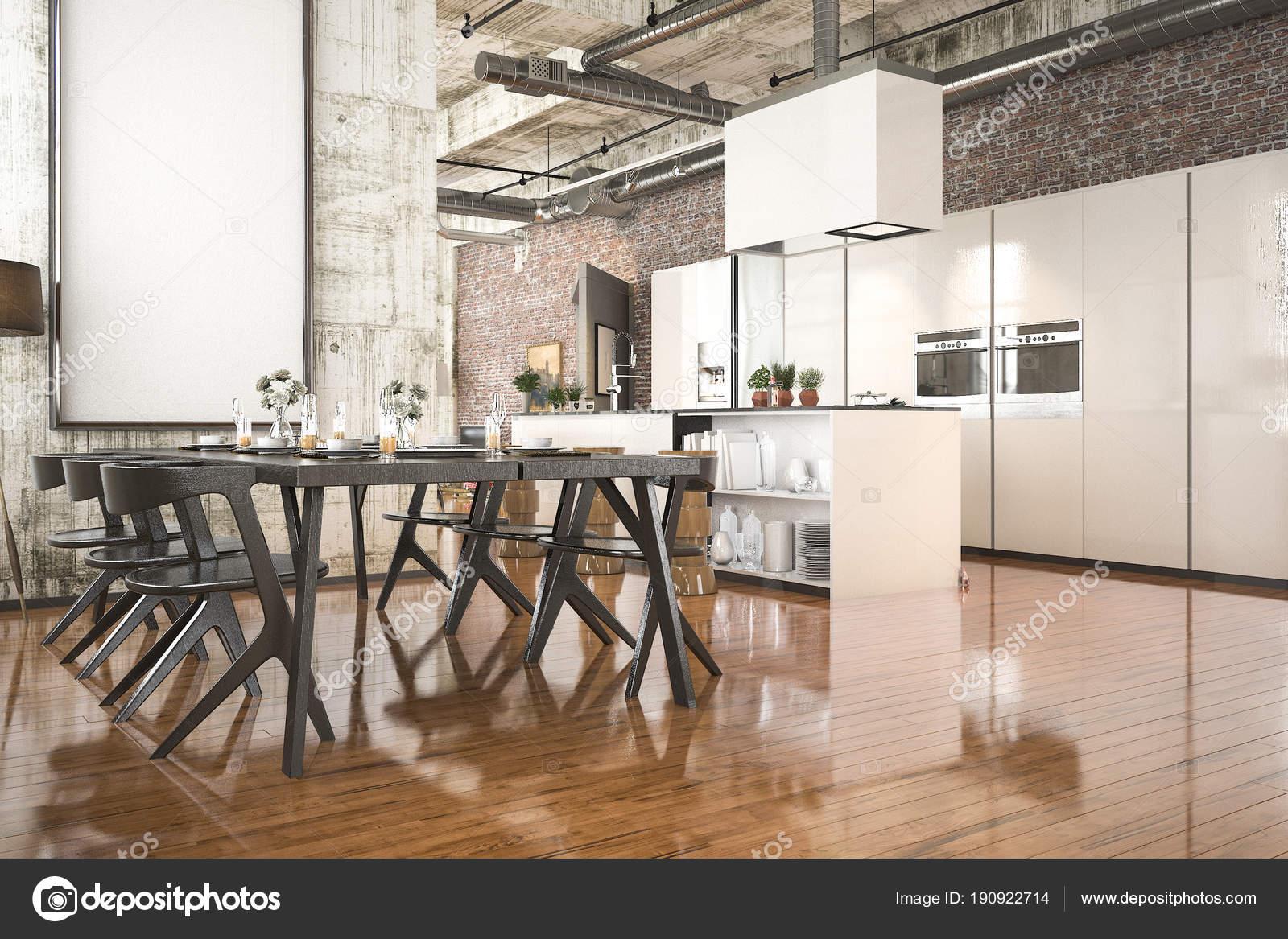 Cozinha Estilo Industrial Renderiza O Com Zona Jantar Madeira Preta