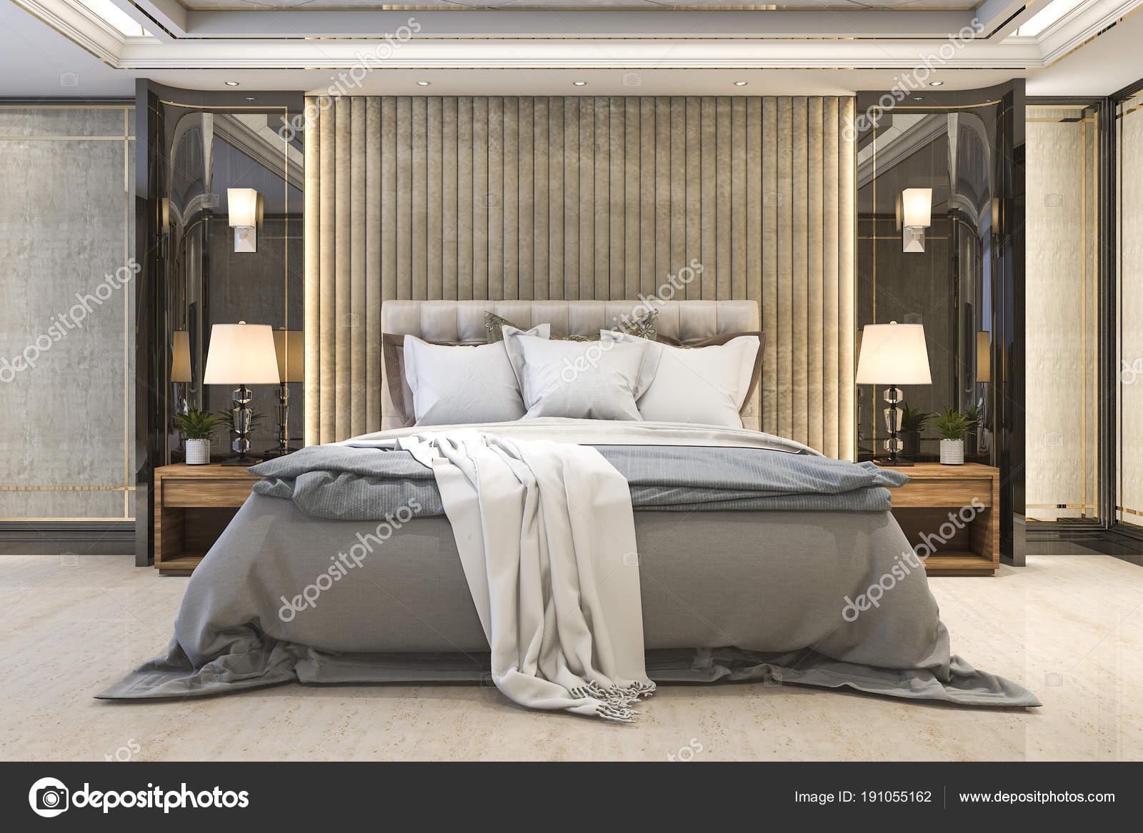 3D Rendering Schöne Luxus Schlafzimmer Suite Im Hotel Mit Tv U2014 Foto Von  Dit26978