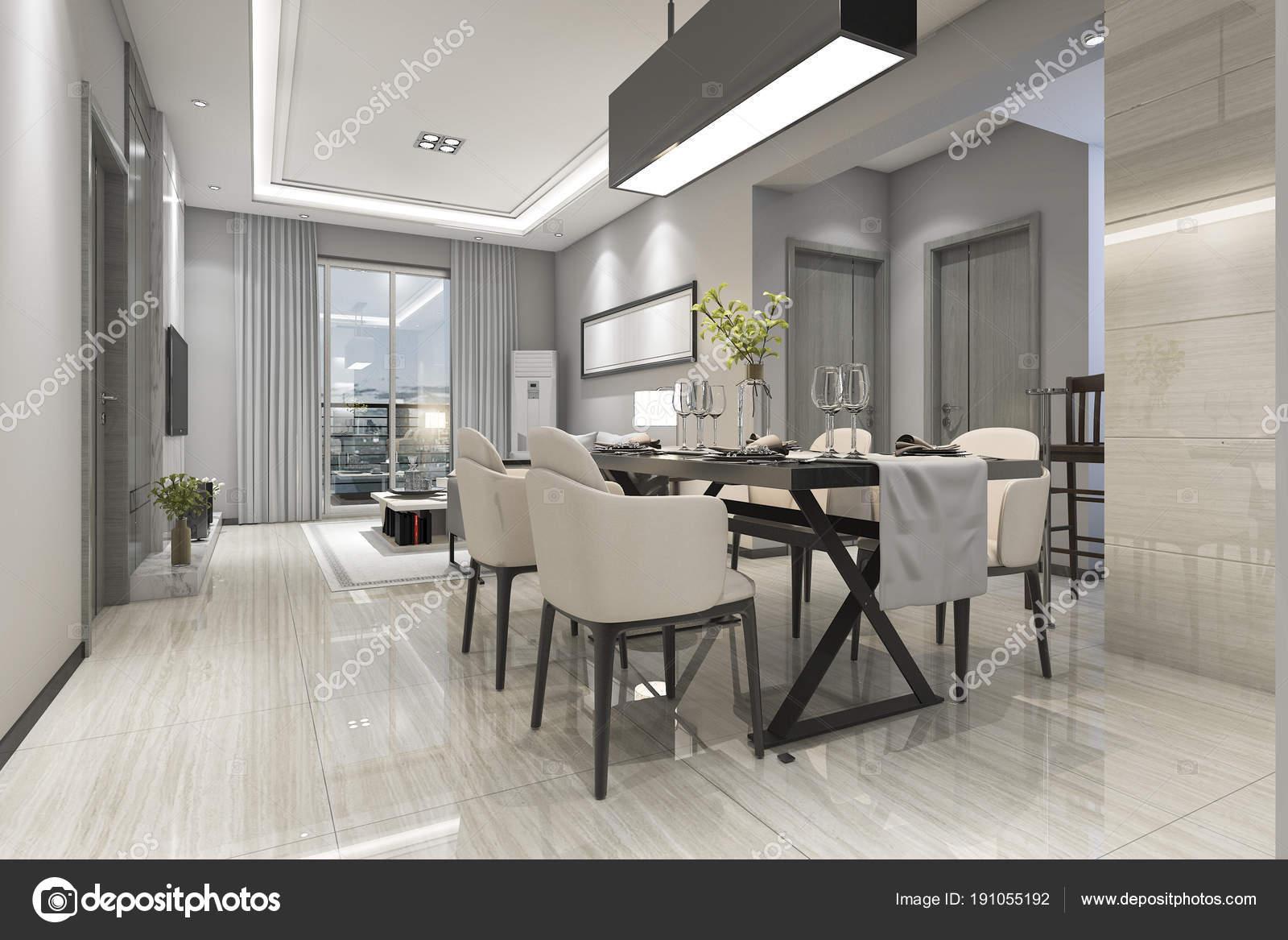 Rendering moderna sala pranzo soggiorno con arredamento for Sala pranzo moderna