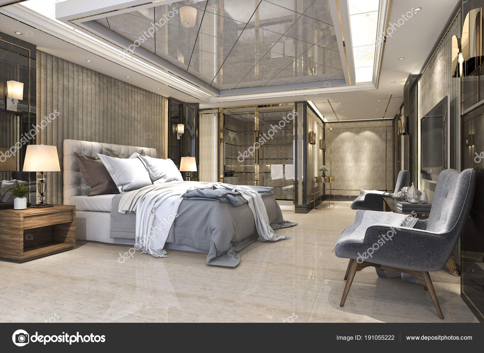 Rendering Lusso Bellissima Camera Letto Suite Hotel Con — Foto Stock ...