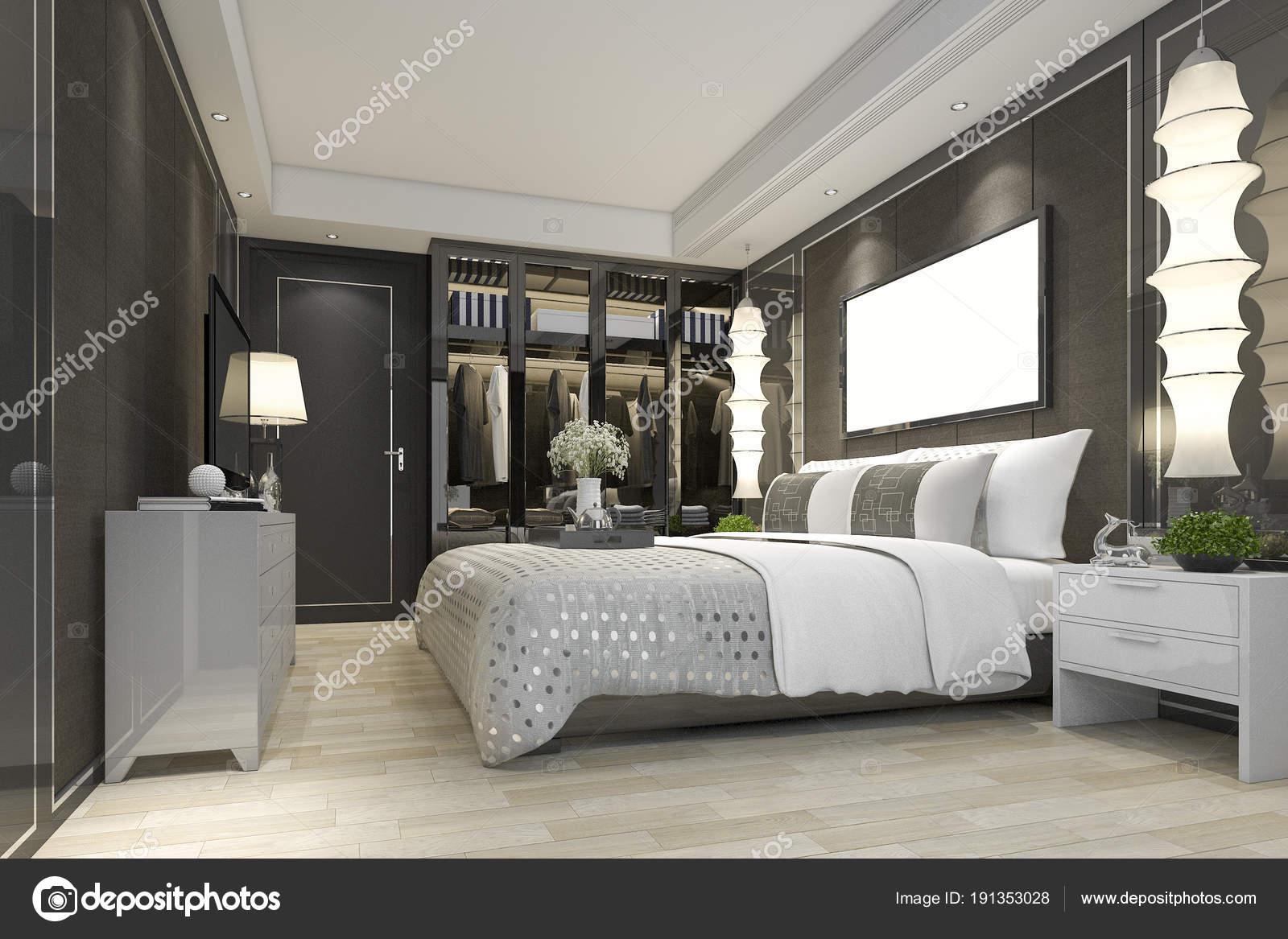 suite chambre coucher moderne luxe rendu avec placard. Black Bedroom Furniture Sets. Home Design Ideas