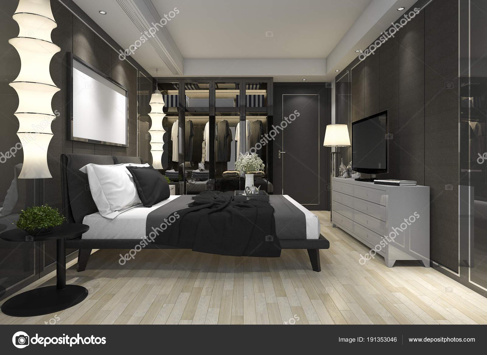 Perfecte Kamer Inloopkast : Rendering luxe moderne slaapkamer suite met garderobe inloopkast