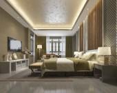 Fotografie 3d rendering luxury chinese bedroom suite in resort hotel