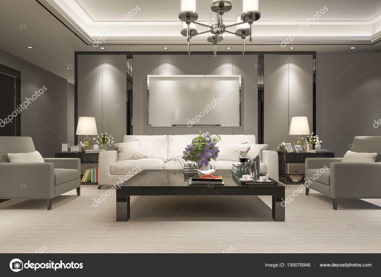 Rendering Luxury Modern Living Room Dining Room Stock Photo Image By C Dit26978 195078946