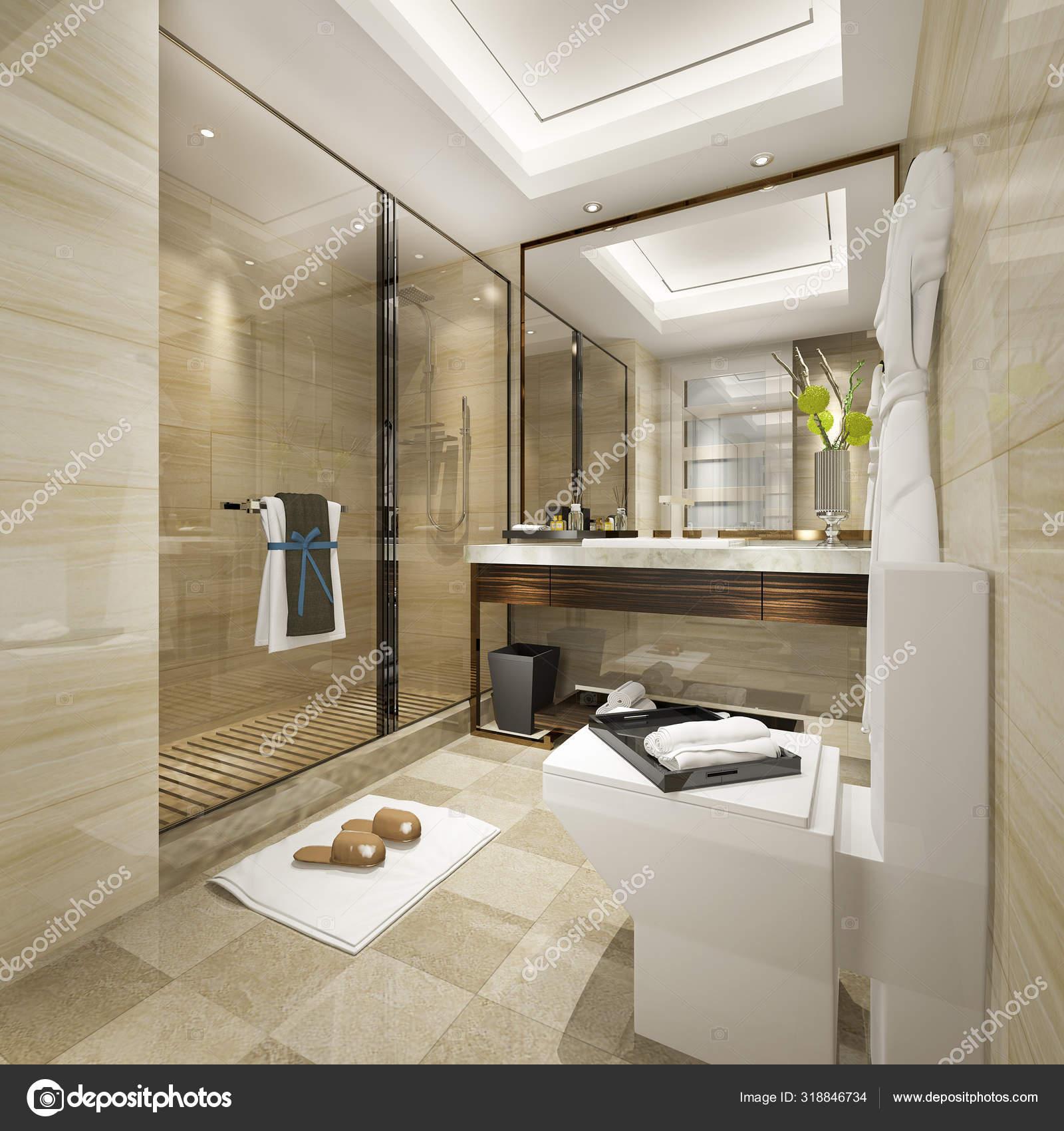 Render Moderno Cuarto Baño Con Lujo Del Azulejo Decoración ...
