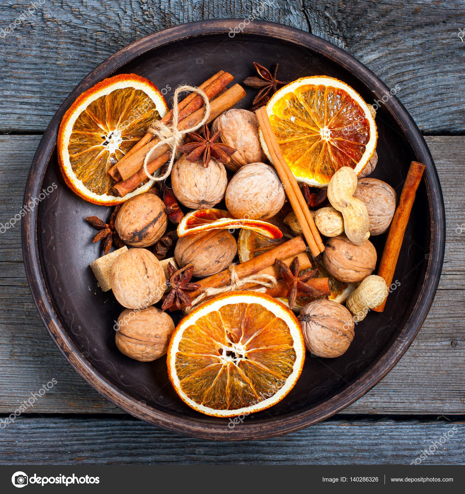 Christmas Decorations Of Dried Oranges Cinnamon Anise And Nuts