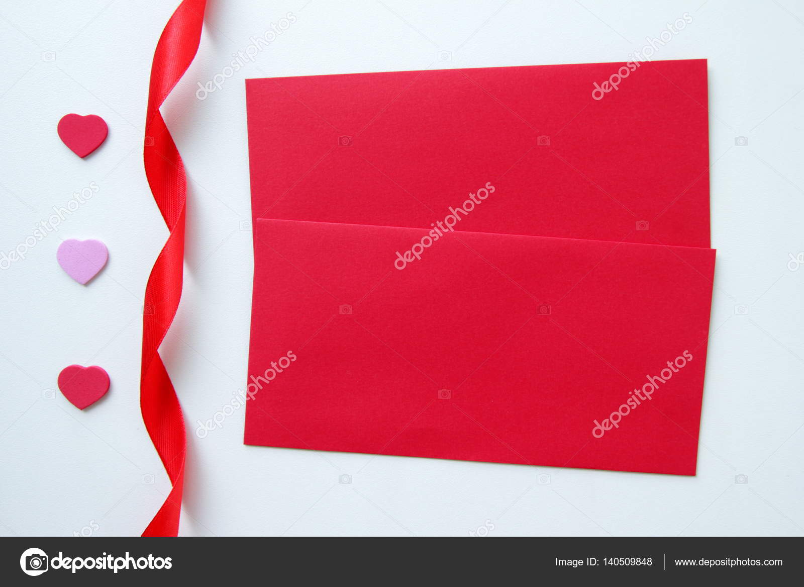 Two Red Envelopes With The Hearts And Ribbon For Valentine S Day On