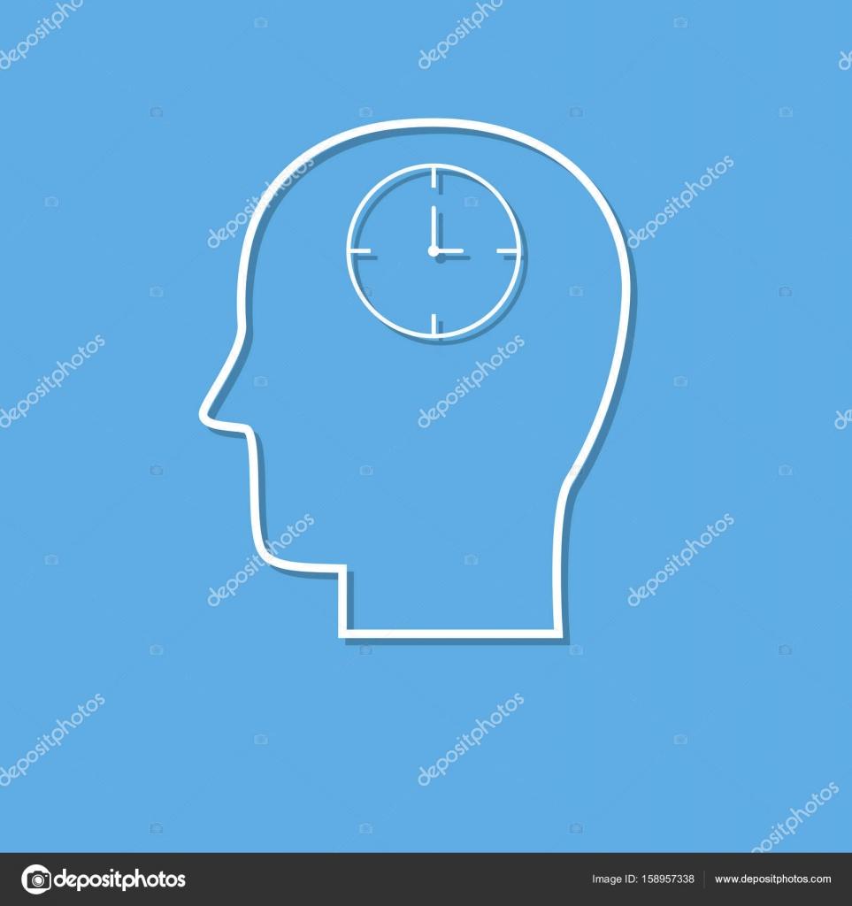Tete Avec Horloge Mince Icone Ligne Coupee Au Livre Blanc