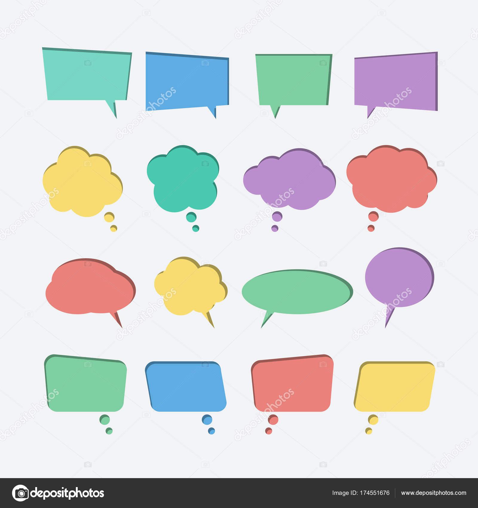 Colección de papel de color cortado de iconos de vector de burbujas de  discurso — Vector 2e9d5cc5276b