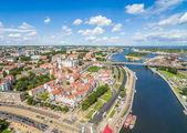 Fotografia Città vecchia di Szczecin visto dalla vista di occhio delluccello. Paesaggio di Stettino con fiume Odra e Castello