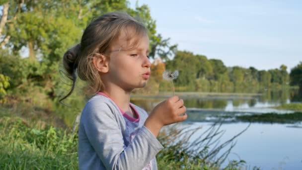 Roztomilá holčička s blond vlasy, pampeliška během slunného dne v parku na jezeře pozadí. Zpomalený pohyb