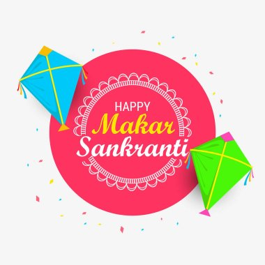 Vector illustration of Makar Sankranti wallpaper with colorful kite for festival of India.