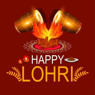 Punjabi festival of lohri celebration bonfire background with decorated drum.