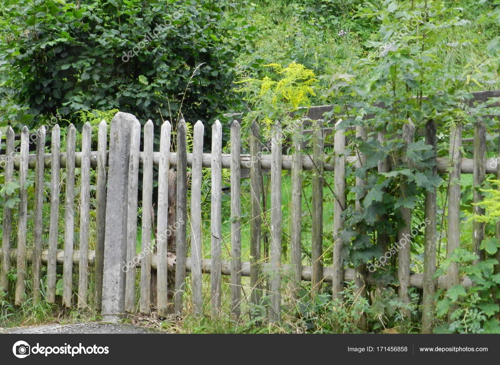 Houten Hekwerk Tuin : Traditionele houten hek een tuin u stockfoto zambia