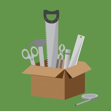 Brown Box of equipment collection on light green background. Include Scissors, Hammer, Saw, Pliers, Pencil, Ruler and Measuring Tape.