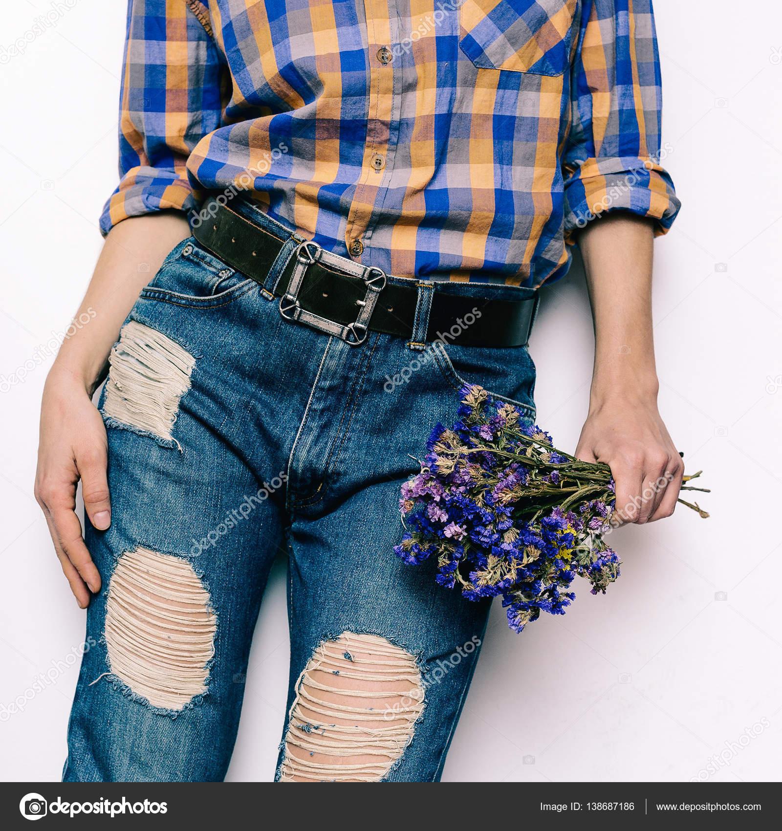 e58b027fcb3 Country Girl Summer fashion style. Accessories. classic blue jea– stock  image