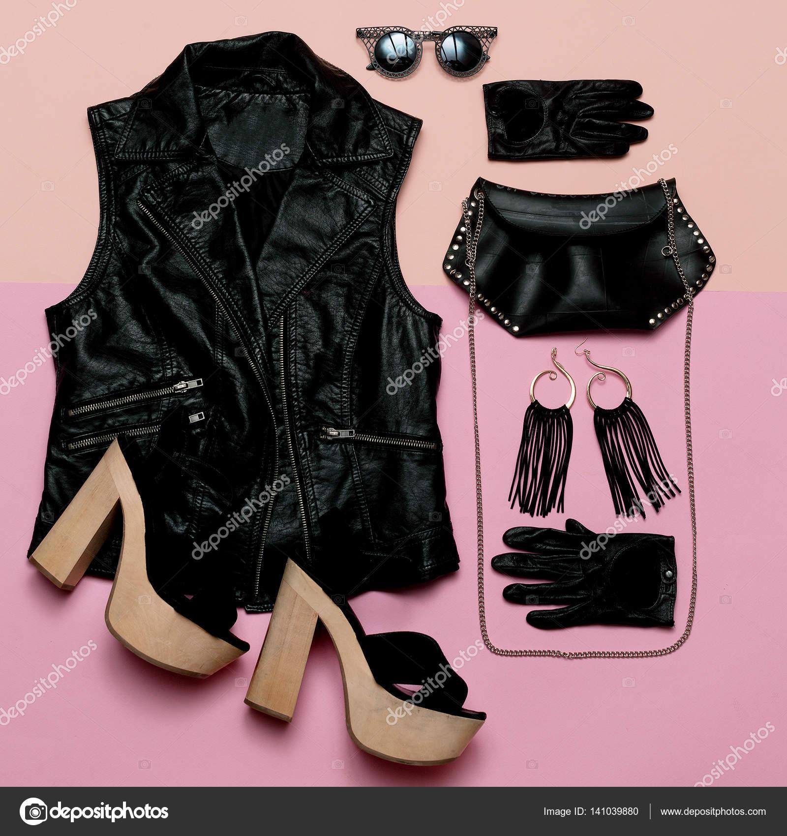 Elegante traje de Lady rock de estilo chaleco y accesorios negros ...