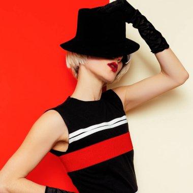 Sexy Blonde retro style vintage clothing. Minimal Fashion. Cabar