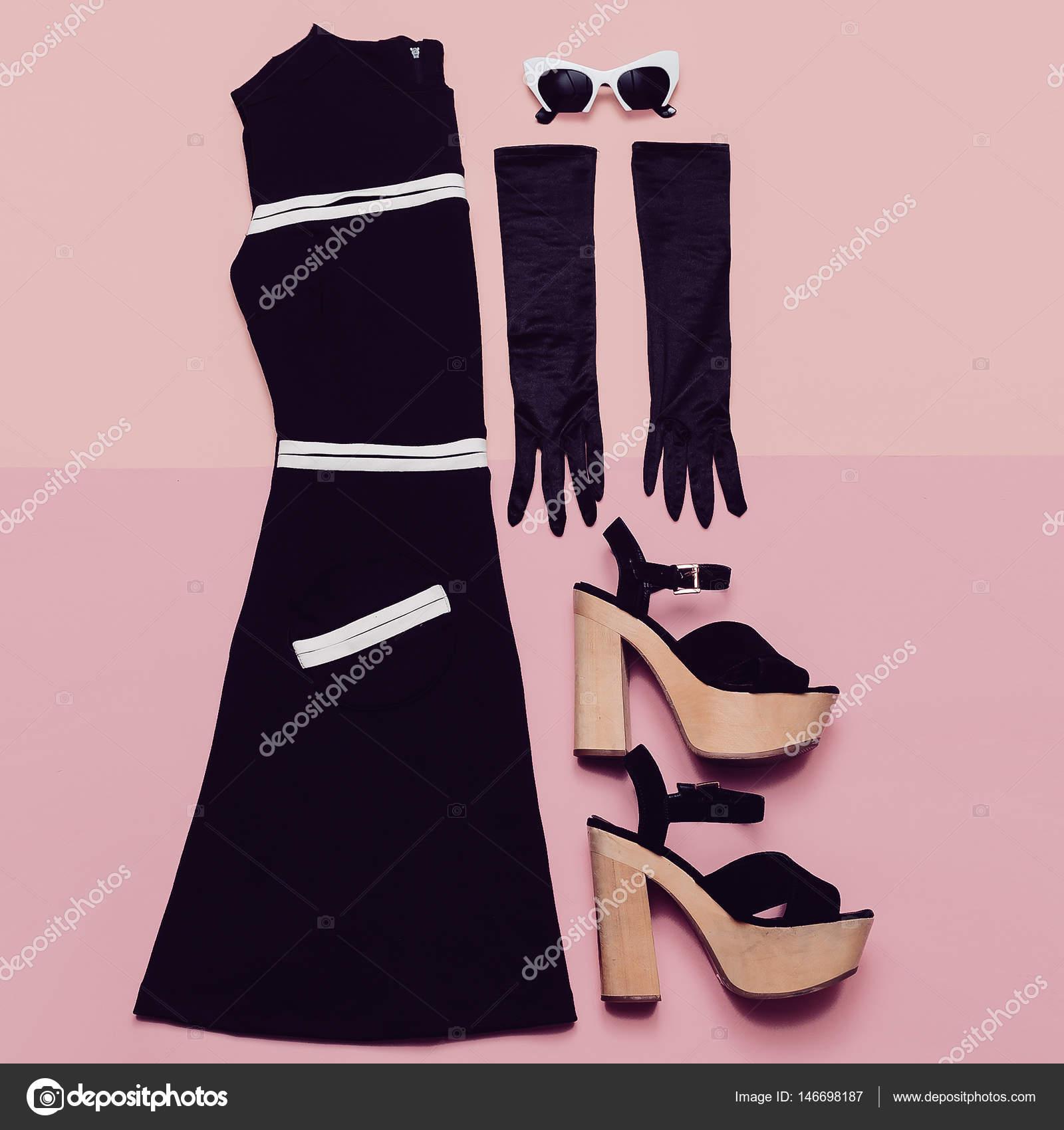 Vestido Negro Vintage Y Accesorios Estilo De Mademoiselle