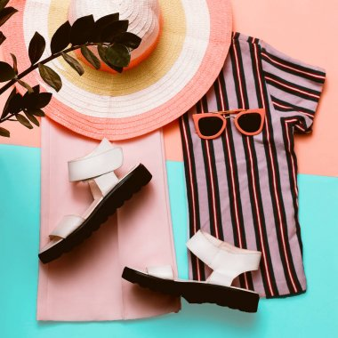 Stylish summer women's clothing and accessories. Beach fashion.
