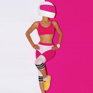 Fitness and Moto. Girl in helmet. Minimal art.