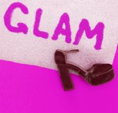 Text glam sequins and heel shoes Minimal design