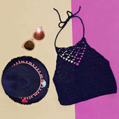 Photo Summer hat, sunglasses, knitted top. Minimal accessory trend