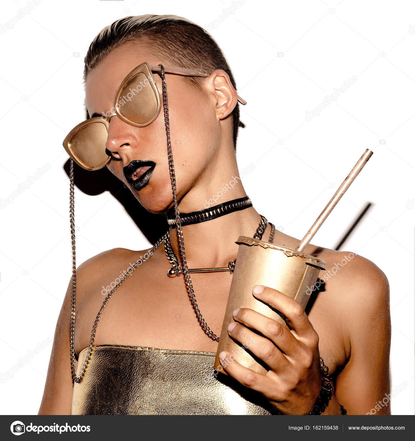 Style de luxe Girl SWAG. Groupe de l\u0027or. Vip or accessoires\u2013 images de  stock libres de droits