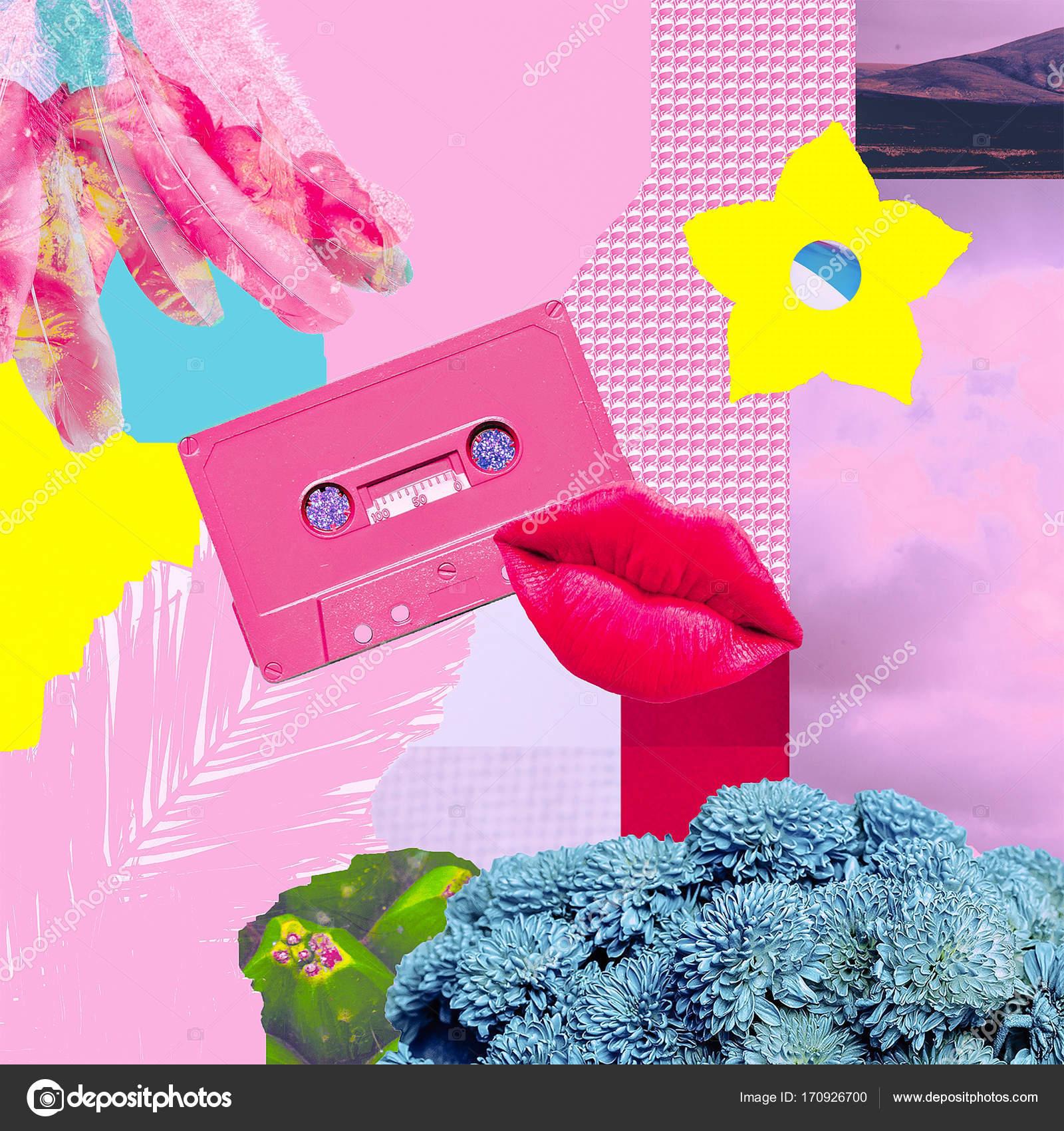 Zeitgenössische Kunst Collage. Musik, Liebe und Frieden. Hippie-Stil ...